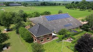 Mansion with solar panels on roof